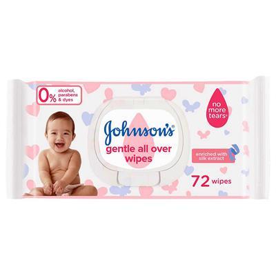 دستمال مرطوب و پاک کننده کودک جانسون مدل gentle all over بسته 72 عددی