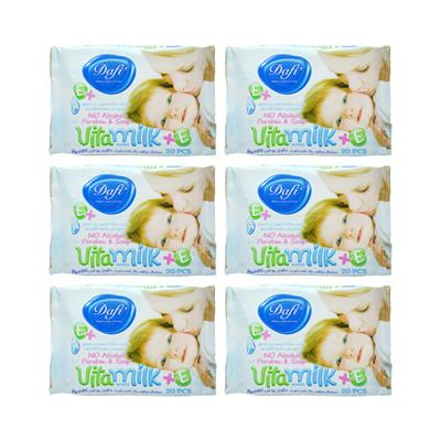 دستمال مرطوب کودک دافی مدل vita milk مجموعه 6 عددی