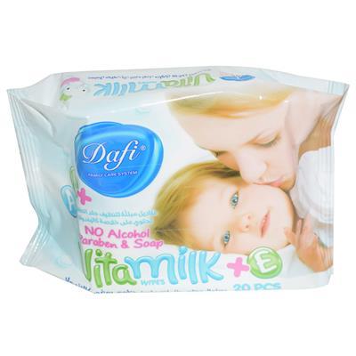 دستمال مرطوب کودک دافی مدل vita milk بسته 20 عددی