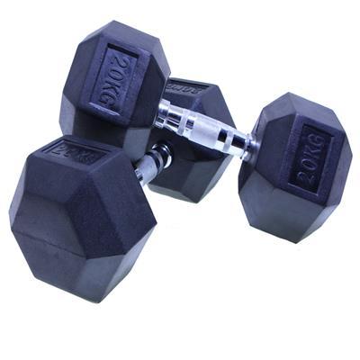 دمبل بدنسازی شش ضلعی هنگدا مدل rubber1706 وزن 20 کیلوگرم بسته 2 عددی