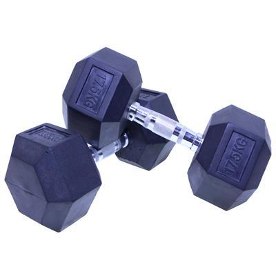 دمبل بدنسازی شش ضلعی هنگدا مدل rubber1706 وزن 175 کیلوگرم بسته 2 عددی