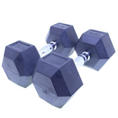 دمبل بدنسازی هنگدا مدل rubber ششضلعی وزن 15 کیلوگرم بسته دو عددی