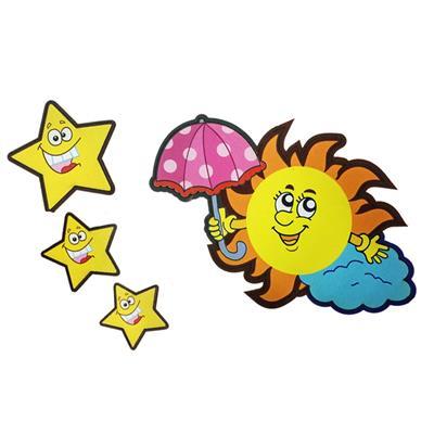 استیکر چوبی جیک جیک مدل کاراکتر خورشید و ستاره