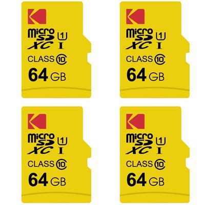 کارت حافظه microsdxc کداک مدل premium performance کلاس 10 استاندارد uhs i u1 سرعت 85mbps ظرفیت 64 گیگابایت بسته 4 عددی