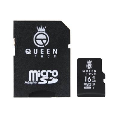 کارت حافظه microsdhc کوئین تک 300x کلاس 10 استاندارد uhs i u1 سرعت 45mbps ظرفیت 16 گیگابایت به همراه آداپتور sd