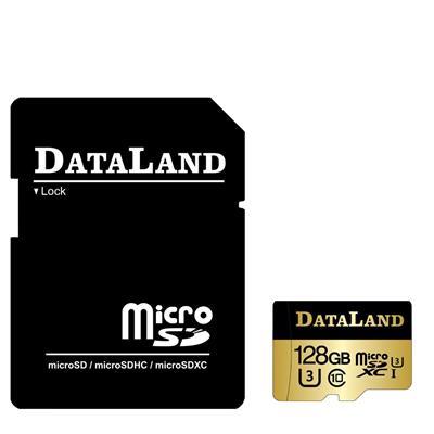 کارت حافظه دیتالند مدل 600x کلاس 10 استاندارد uhs i u3 سرعت 100mbps ظرفیت 128 گیگابایت همراه با آداپتور sd