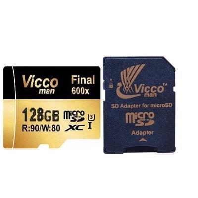 کارت حافظه microsdhc ویکو من مدل final 600x کلاس 10 استاندارد uhs i u3 سرعت 90mbps ظرفیت 128 گیگابایت همراه با آداپتور sd