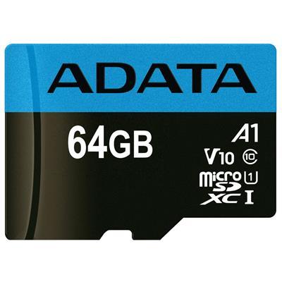 کارت حافظه microsdxc ای دیتا مدل premier v10 a1 کلاس 10 استاندارد uhs i سرعت 100mbps ظرفیت 64 گیگابایت