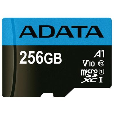 کارت حافظه microsdxc ای دیتا مدل premier v10 a1 کلاس 10 استاندارد uhs i سرعت 100mbps ظرفیت 256 گیگابایت