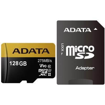 کارت حافظه microsdxc ای دیتا مدل premier one v90 کلاس 10 استاندارد uhs ii u3 سرعت 275mbps همراه با آداپتور sd ظرفیت 128 گیگابایت