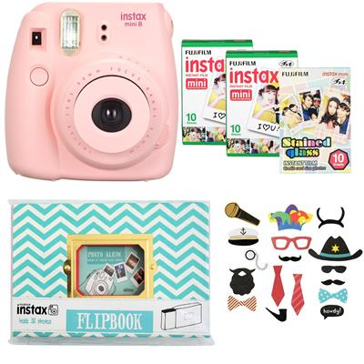 دوربین عکاسی چاپ سریع فوجی فیلم مدل instax mini 8 به همراه آلبوم سه بسته کاغذ چاپگر و برچسب عکس